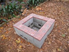 December 2013 - Fire pit done!  It is three levels of cement block...bottom level is underground.  The second level has the vents (blocks turned sideways) and then we put decorative paver bricks to cover the tops of the cement blocks.  We used Liquid Nails for cement to stick everything together.  Looks great!  Works great too!