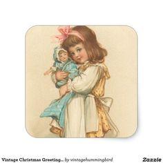 Vintage Christmas Greetings Girl with Doll