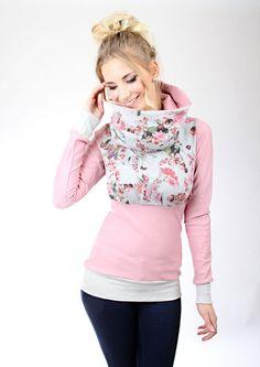 "Hoodies - MEKO ""Nifty"" Hoodie Damen Rosa Blumen Grau - ein Designerstück von meko bei DaWanda"