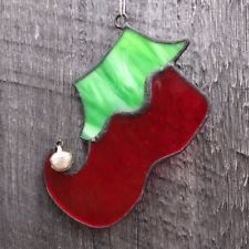 Stained Glass Elf Boot Ornament