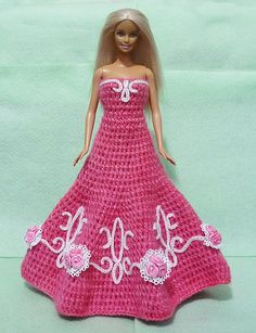 Crocheted+Barbie+Dress+09+by+HakoAmigurumi+on+Etsy,+$35.00