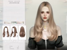 wingssims' WINGS-TO0626 Long flowing hair Sims 4 Body Mods, Sims Mods, Sims 4 Teen, Sims Cc, Lomg Hair, All Hairstyles, Female Hairstyles, Sims 4 Tattoos, Hair Wings