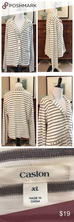 "Caslon Nordstrom Striped Sweatshirt Casual Blazer Caslon Nordstrom brand gray and white striped sweatshirt style Blazer. No flaws. 100% cotton. Size XL, length: 24"", bust: 20"" 💕 Caslon Jackets & Coats Blazers"