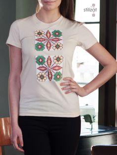 Tricou din bumbac cu flori T Shirt, Clothes, Tops, Women, Fashion, Supreme T Shirt, Outfits, Moda, Tee Shirt