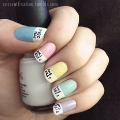 This adorable Pantone look is made with a thin sharpie marker. | 27 Lazy Girl Nail Art Ideas That Are Actually Easy