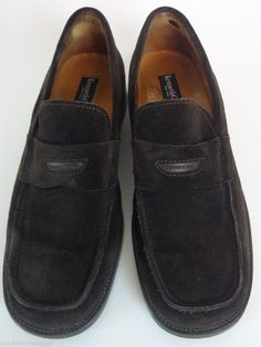 0e1f852ea68 Kenneth Cole Brown Suede Shoes Men Loafers Slip on Leather Italy 11 US 44  Eu Shoes