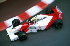 McLaren MP4/8, 1993, Engine Cosworth HBD7, 3,5L V8 Ayrton Senna here, driving for 1993 season together with Michael Andretti and Mike Hekkinen.  The car won 5 of the 16 races of the season and Ayrton collected 73 of the cars 84 points.