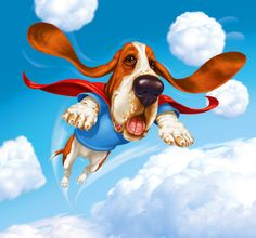 It's a bird...it's a plane...it's...SUPER BASSET! Funny Dogs, Cute Dogs, Basset Hound Puppy, Bassett Hound, Bloodhound, Dog Rules, My Animal, All Dogs, Dog Art