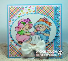 Art Impressions Rubber Stamps:  Tea Time (T4114).  Handmade Easter card with bunny rabbits.