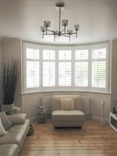 outstanding bay window living room ideas | plantation shutters for bow windows | Shutters Gallery ...