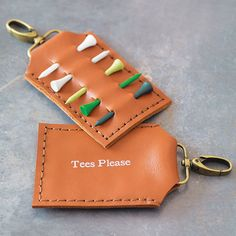 Personalised Leather Golf Tee Holder from notonthehighstreet.com   golf gifts