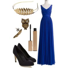 Daughter of Athena prom - Elegant blue gown with black heels and OWL earrings. I really like the gold-leaf headband as well.