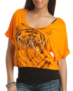 Nerdy Tiger Crop Top - Graphic Tees