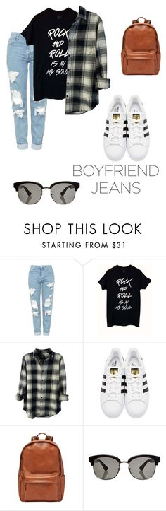 """""""I Stole It From My Boyfriend"""" by amandapanda5 ❤ liked on Polyvore featuring Topshop, Rails, adidas Originals, FOSSIL and Gucci"""