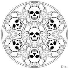Mandala de têtes de mort. L'imagination des artistes ne connaît vraiment pas de limites... A vos crayons !