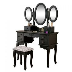 Set masa toaleta Neagra oglinda tripla, scaun, cosmetica machiaj @ http://lovelydeco.ro/cele-mai-frumoase-masute-de-toaleta-pentru-cosmetica-si-machiaj/