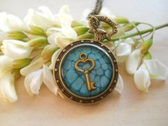 Resin pendant, teal pendant, key pendant, pocket watch tray, resin jewelry, antique brass chain necklace, golden key pendant