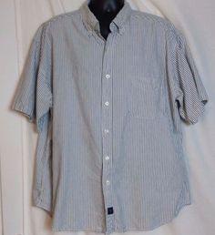 Catalina Men's Gray Striped Cotton Button Front Short Sleeve Shirt Size XXL #Catalina #ButtonFront