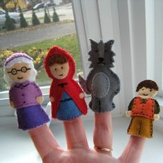Little red riding hood finger puppets (no pattern given)