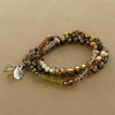 Green and Brown Pearl and Cystal Three Strand Elastic Bracelet