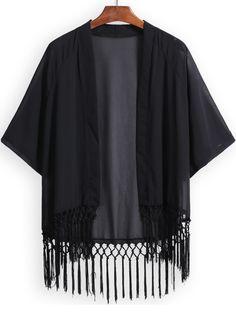 Black Half Sleeve Tassel Loose Kimono 14.33