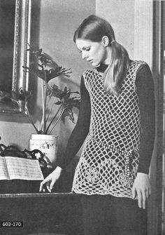 This is a Vintage Pattern for a Floral Tunic from 1970.    The tunic has a flower motif, no sleeves, and an open stitch pattern. Perfect for