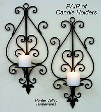 Set of 2 Wrought Iron Wall Candle Holders Rustic Black Metal Sconces 2xWide CW50