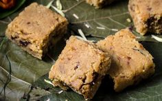 Dates give this barfi (Indian-style fudge) a unique twist, and chickpea flour adds a nutty flavor and melt-in-your-mouth texture. Vegan Treats, Vegan Desserts, Easy Desserts, Vegan Chickpea Recipes, Vegan Recipes, Vegan Food, Easy Recipes, Sweet Dumplings, Burfi Recipe
