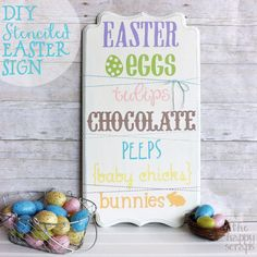 Stenciled Easter sign made using your Cricut. See the tutorial at www.thehappyscraps.com