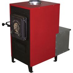 This HY-C Fire Chief Indoor Wood Furnace is perfect for adding cost-cutting warmth to garages, workshops and areas 1000 square feet. Indoor Wood Furnace, Wood Burning Furnace, Pellet Stove, Gas Stove, Garage Heater, Painted Concrete Floors, Liquor Cabinet, Locker Storage, Flooring