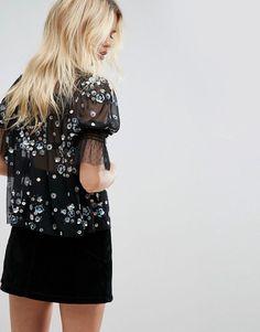 ASOS Embellished Smock Top - Black