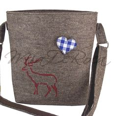 Grey Feltbag Lies with Stag and Blue Gingham Heart - MiaDeRoca Shops, Blue Gingham, Shoulder Bag, How To Make, Bags, Style, Weaving, Felting, Heart