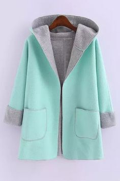 Hooded Fleece Lining Coat BLUE: Jackets & Coats | ZAFUL