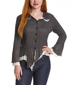 Look what I found on #zulily! Black & White Polka Dot Handkerchief Button-Up Top #zulilyfinds