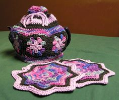 Granny Square Tea Cozy & Potholder Crochet Pattern Set