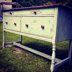 Antique chiffarobe with dark walnut top and pale blue distressed & glazed paint treatment;). <3!