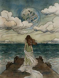 illustration art Magical fairytales illustrated by Liga Klavina - Bleaq Fantasy Kunst, Fantasy Art, Images Esthétiques, Love Images, Art Amour, Fairytale Art, Fairytale Drawings, Aesthetic Art, Aesthetic Women