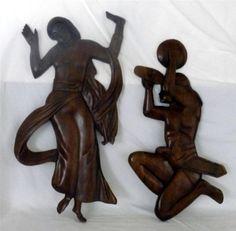 "Set Of 2 Vtg Handcrafted Tribal/Native Wood Folk Wall Art  Man & Woman 15"" X 29"""