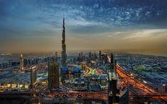 Herunterladen hintergrundbild burj khalifa, 4k, dubai, abend, stadt, vereinigte arabische emirate, stadtansichten