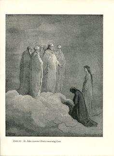 Gustave Dore Print /Bookplate 1948 St John Virgil Dante Divine Comedy #Realism