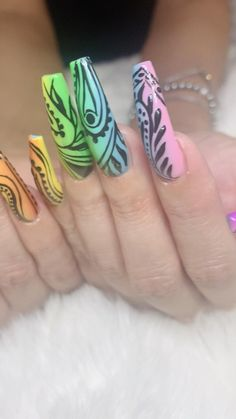 Rainbow Colored Acrylic with hand painted black line work by Elaine Book Today Text or call 702-577-1680 www.nabnailbar.com