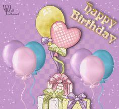 Animated Gif by Barbara_Wyckoff Best Happy Birthday Message, Cute Birthday Quotes, Happy Birthday Wishes Cake, Happy Birthday My Love, Happy Birthday Flower, Happy Belated Birthday, Happy Birthday Pictures, Birthday Wishes Quotes, Happy Birthday Greetings