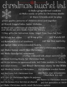 Christmas Bucket List~ Mandy, here's another list, too! This is for Christmas! I've got all the seasons (except spring!) planned out now! ;) haha! (Where it says extended family, that's you guys to me.) (: <3