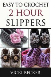 Easy to Crochet 2 Hour Slippers! These cute slippers are very easy and quick to make. You can crochet these slippers in about 2 hours depending on how fast you crochet using bulky yarn and a J or L hook.