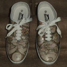 Decorated Shoes MADE TO ORDER Old World Map by YourLovelyHome