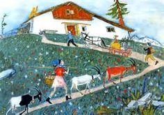 schellen ursli, famous Swiss children's story Illustrator, Children Books, Children's Book Illustration, Countries Of The World, Travel Posters, Art For Kids, Folk Art, Fairy Tales, Nature Photography