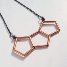Hex Copper Tube Necklace with Black Chain by heimilimitt on Etsy, $28.00