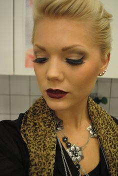 Linda Hallberg, makeup artist. Intense rocker / biker style look, smokey eyes and dark blood red lips
