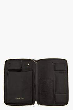 JUUN.J Black Leather Snakeskin iPad Travel Case