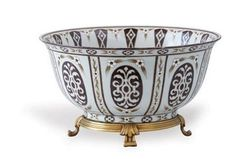 Port 68 William Centerpiece Bowl hand painted porcelain and solid brass accents. Gift, home decor